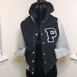 Jackets & Blazers - Black & Gray Letterman Jacket